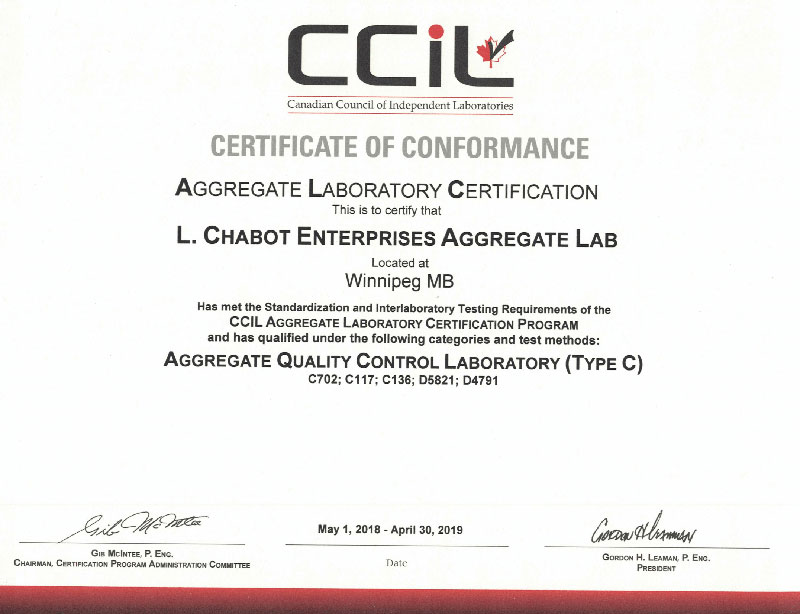 CHABOT Lab Certificate